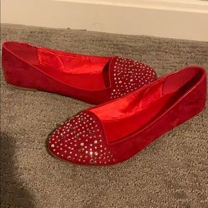 Red suede ballet flats never worn